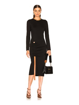 Loewe bodycon leather strap dress