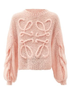 Loewe cabled-anagram, mohair-blend sweater