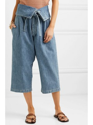 Loewe cropped belted high-rise wide-leg jeans