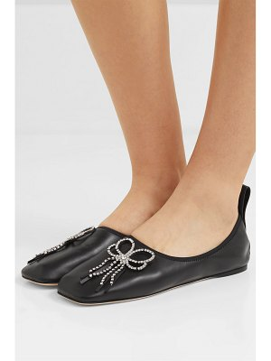 Loewe crystal-embellished leather ballet flats