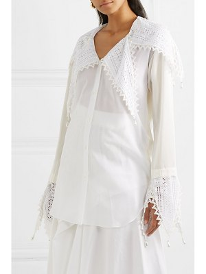 Loewe embellished broderie anglaise-trimmed cotton and georgette blouse