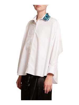 Loewe Embroidered-Collar Button-Front Shirt