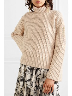 Loewe faux pearl-embellished open-back cashmere sweater