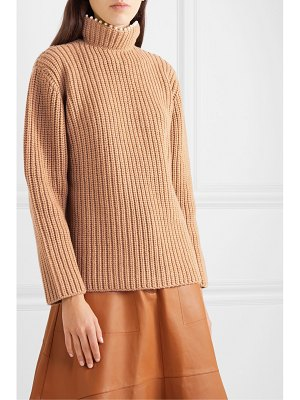 Loewe faux pearl-embellished ribbed cashmere turtleneck sweater