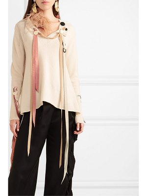 Loewe feather and grosgrain-trimmed cashmere sweater