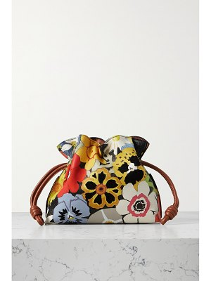 Loewe flamenco mini textured-leather and suede clutch
