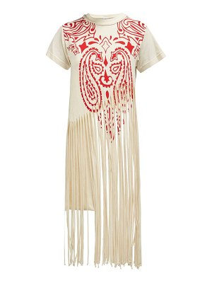 Loewe fringed cotton and silk blend t shirt