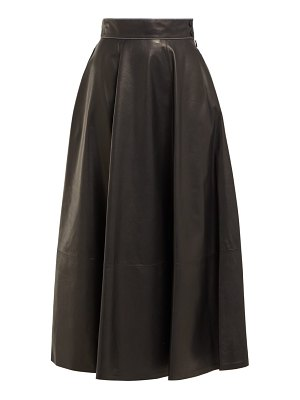 Loewe high rise leather midi skirt