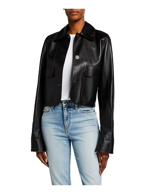 Loewe Leather Button-Front Cropped Jacket