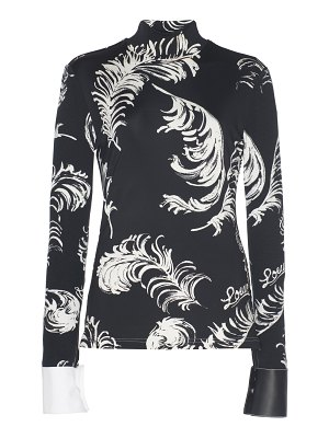 Loewe leather-trimmed printed jersey turtleneck top size: s