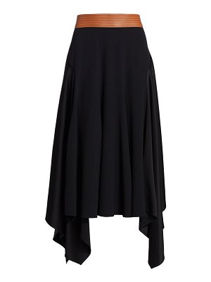 Loewe leather waistband asymmetric midi skirt