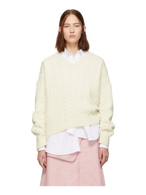 Loewe off-white cable knit v-neck sweater