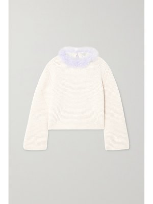 Loewe open-back feather-trimmed cashmere sweater
