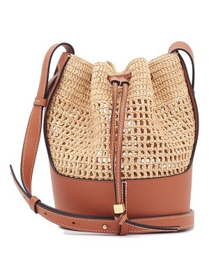 Loewe Paula's Ibiza anagram-debossed raffia and leather bucket bag