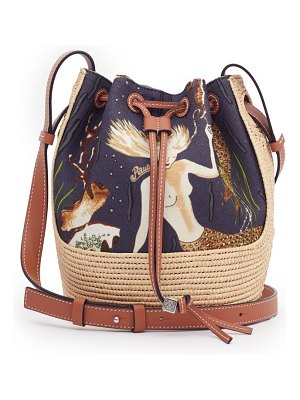 Loewe Paula's Ibiza mermaid-print small canvas and raffia bucket bag