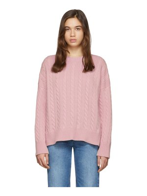 Loewe pink cable crewneck sweater