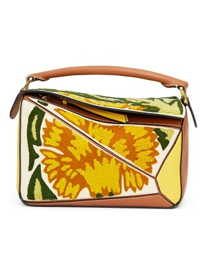 Loewe puzzle small floral embroidered leather bag