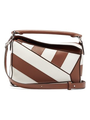 Loewe puzzle small striped leather cross body bag