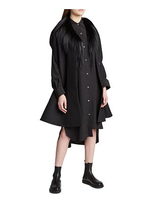 Loewe Shearling-Trim Wool Cape Coat
