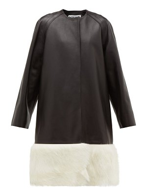 Loewe shearling trimmed collarless leather coat