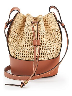 Loewe small balloon leather-trimmed raffia shoulder bag