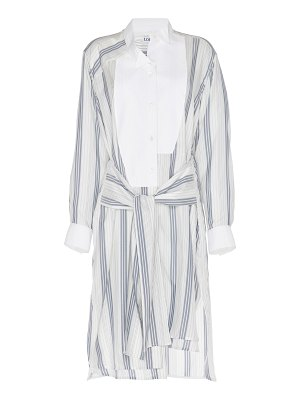 Loewe tie-front striped silk-crepe shirtdress size: l