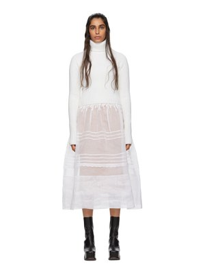Loewe white rib knit and organdy dress