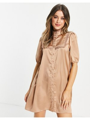 Lola May high neck satin mini dress in taupe-neutral