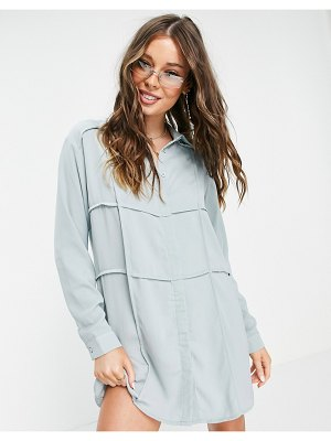 Lola May panelled shirt dress in mint-green