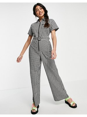 Lola May tie waist jumpsuit in gingham check-black