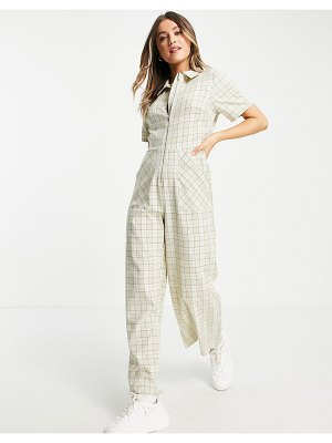Lola May wide leg jumpsuit in check-neutral