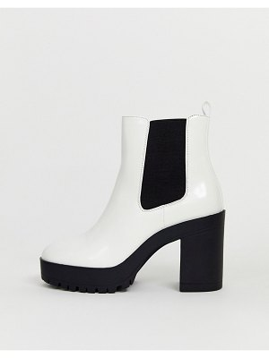 London Rebel chelsea platform ankle boots in white