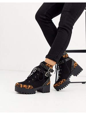 London Rebel chunky lace up hardware boots in leopard mix-black