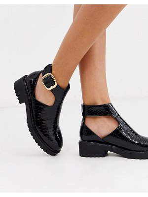 London Rebel cut out flat chunky ankle boots in black croc