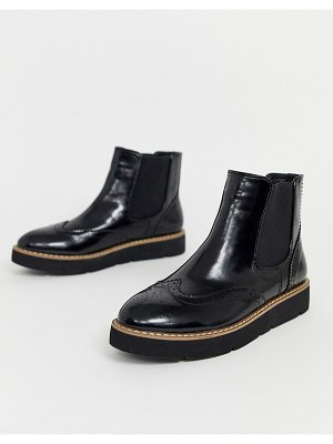 London Rebel flat chunky chelsea boots in black