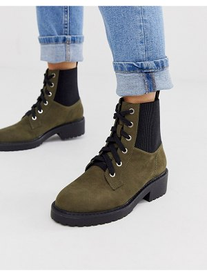 London Rebel lace up flat chunky boots in khaki-black