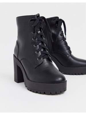 London Rebel lace up platform boots in black
