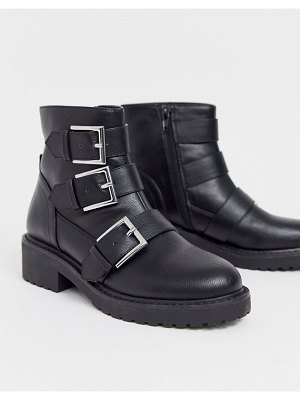 London Rebel multi buckle flat boots in black