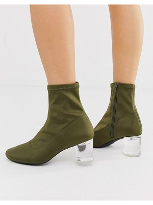 London Rebel neoprene sock boots in khaki-green