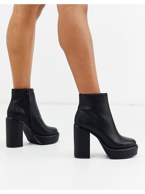 London Rebel platform ankle boots in black