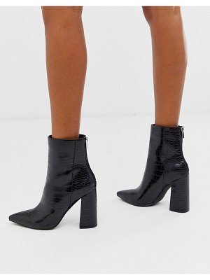 London Rebel pointed block heeled boot in black croc