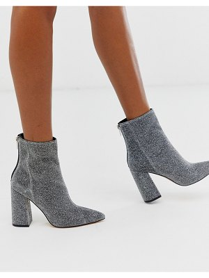 London Rebel pointed block heeled boot in silver-black