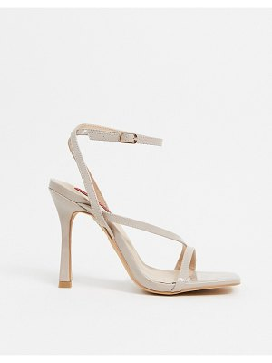London Rebel strappy square toe heeled sandals in beige-neutral