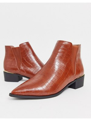 London Rebel western ankle boots in tan croc-brown