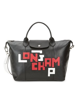 Longchamp Le Pliage Embroidered Logo Leather Satchel