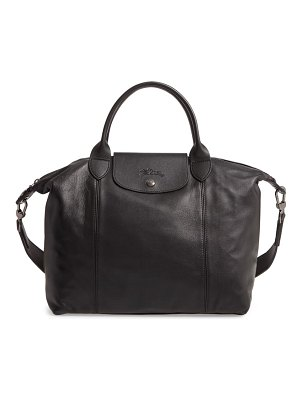 Longchamp medium le pliage cuir leather top handle tote