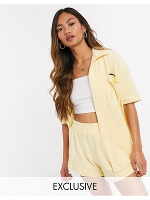 Loose Threads relaxed lounge shirt in terry cloth set-yellow