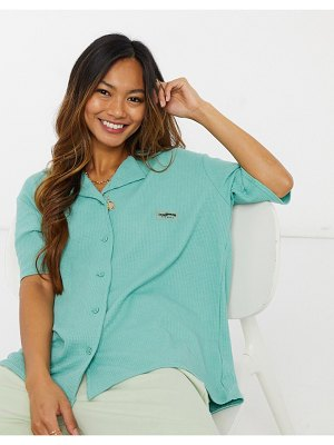 Loose Threads relaxed lounge shirt in waffle-blue