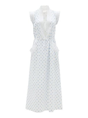 Loretta Caponi rita polka-dot cotton-voile midi dress