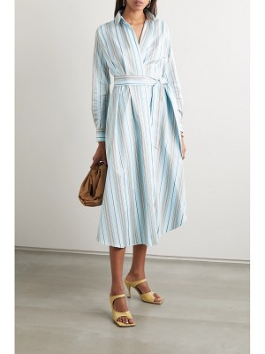 Loro Piana belted striped cotton-poplin wrap dress